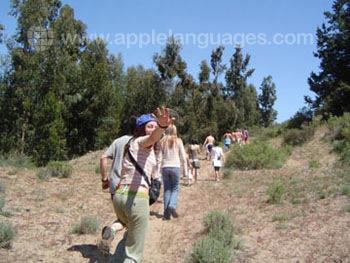 Studenten tijdens een hiking excursie