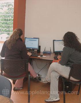 Het internetcafe van de school