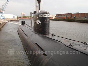 U-boat in de haven van Hamburg