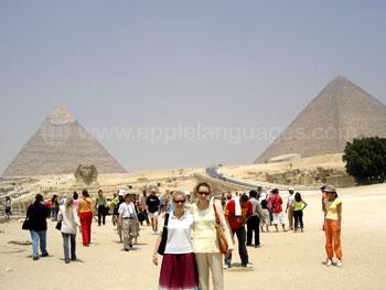 Studenten voor de piramides