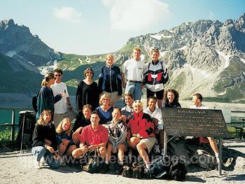 Studenten genieten van de Bodensee bergen