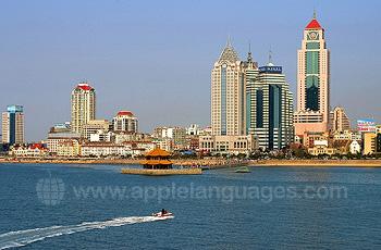 Qingdao winkelcentrum vanaf de zee