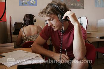 Studenten in het media lab
