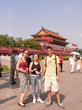 Studenten die de Verboden Stad bezoeken