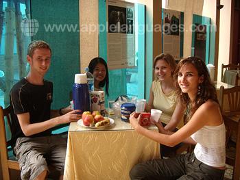 Studenten in de kantine