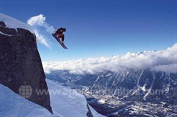 Snowboarden boven Charmonix