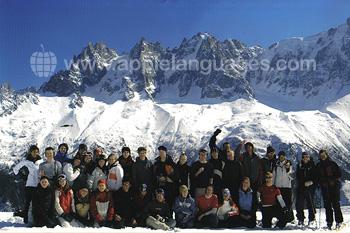 Studenten op de Frans en ski?n cursus
