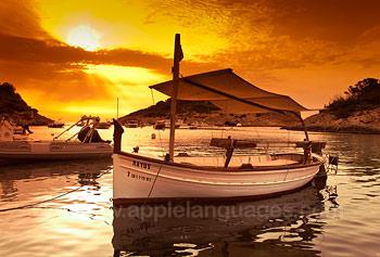 De zonsondergang in Ibiza