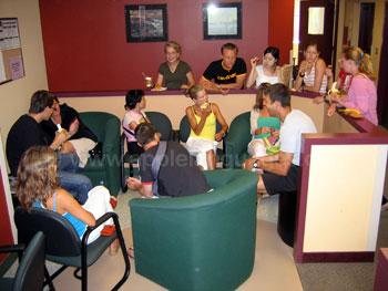 Studenten in de lounge