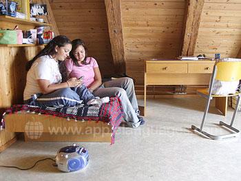 Studenten in een gastenverblijf