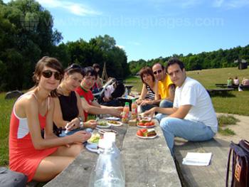 Lunchpauze in het zonnetje