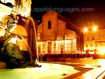 Piazza Maggiore tijdens de nacht