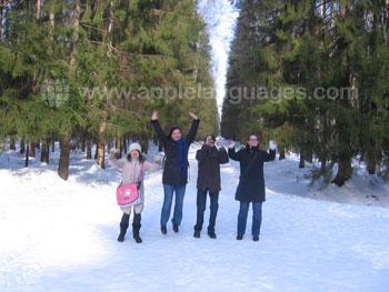 Studenten op excursie tijdens de winter