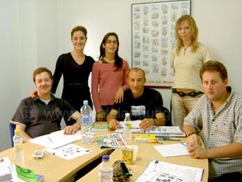 Studenten met leraar