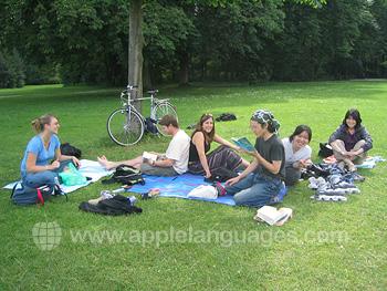 Studenten aan het relaxen in het park