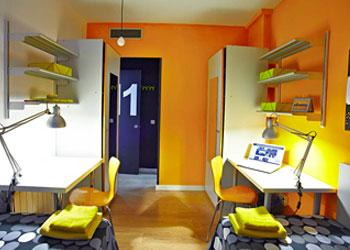 Tweepersoonskamer in de studentenresidentie