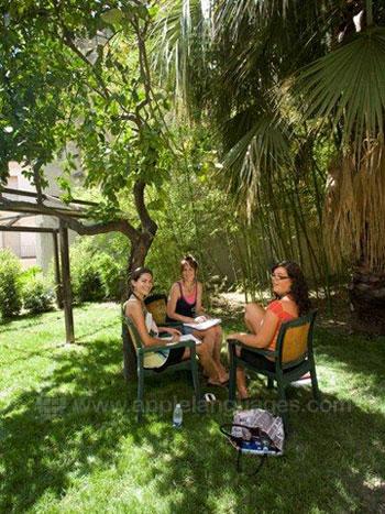 Studenten aan het relaxen in de tuin