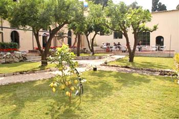De tuin en de patio van de school