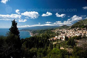 Het uitzicht over het prachtige Taormina