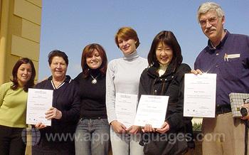 Studenten met certificaten