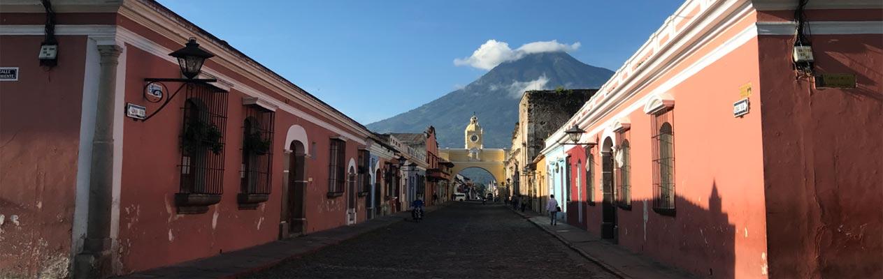 Het stadscentrum van Antigua in Guatemala