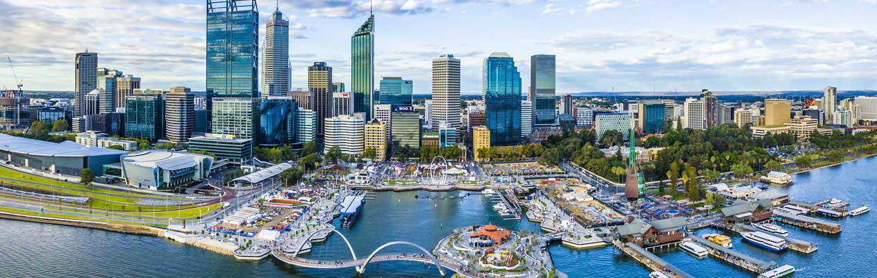 Het stardscentrum van Perth, Australië