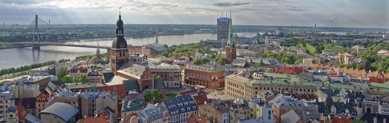 Uitzicht over de stad Riga, Letland