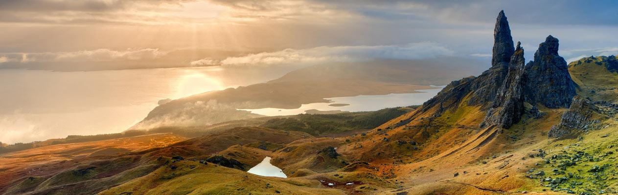 Schitterend Schots landschap, de Oude Man van Storr