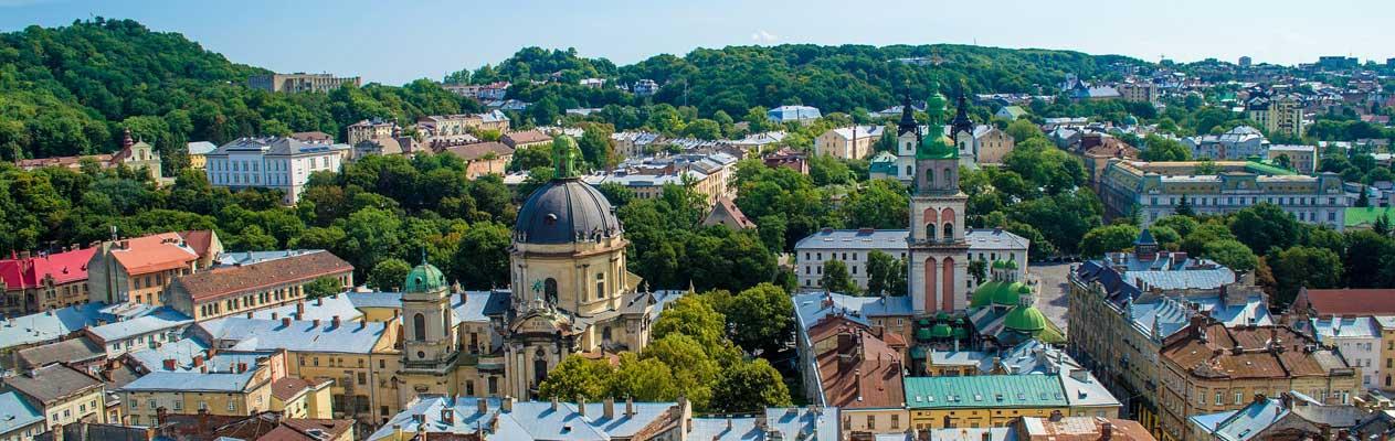 De stad Lviv in Oekraïne